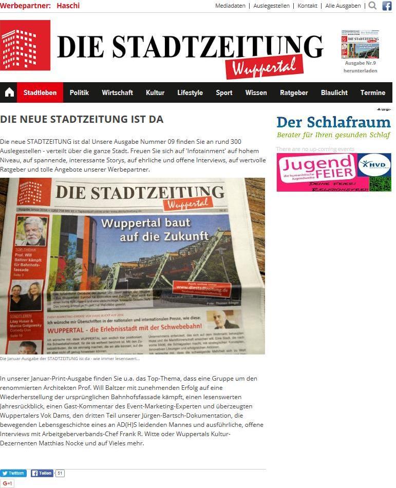 Die Stadtzeitung Wuppteral_ WUPPERTAL - die Erlebnisstadt mit der Schwebebahn